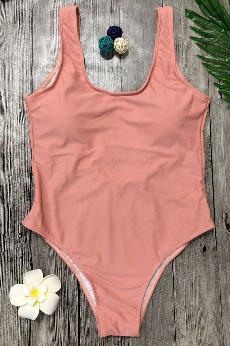 Sexy Low Back High Cut One Piece Swimsuit in Pink