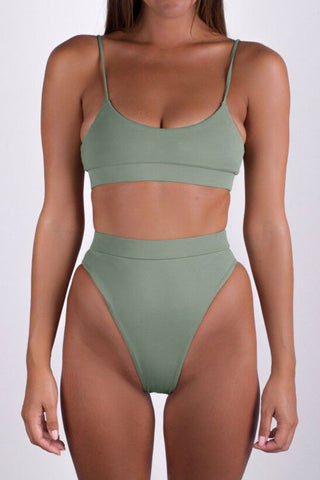 Simple High Waist High Cut Thong Bralette Bikini Swimsuit in Army Green