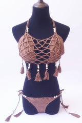 Fringe Braided Strappy Crochet Tie Side String Bikini Swimsuit in Coffee