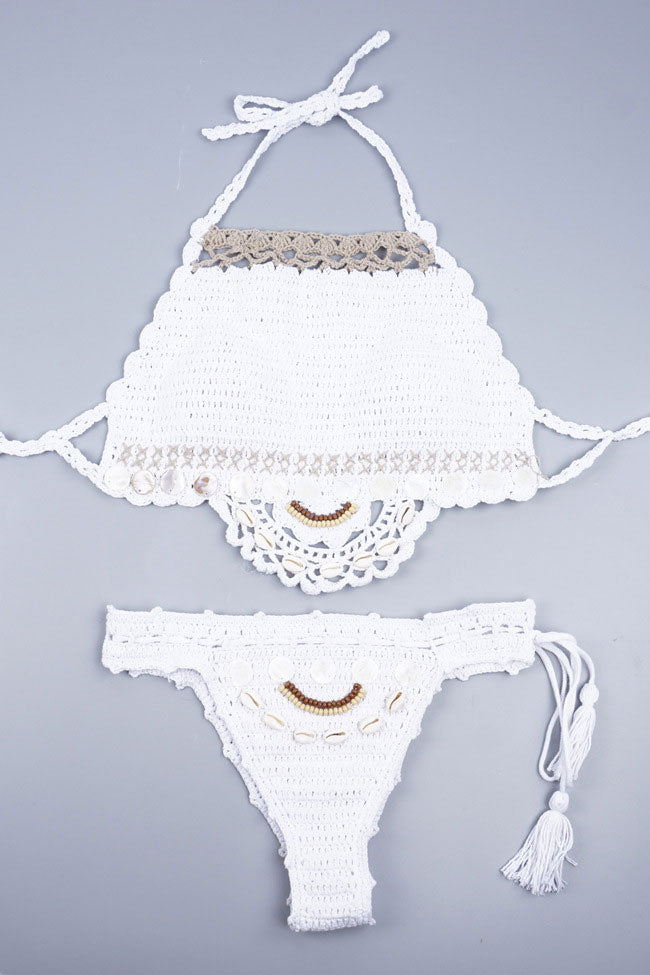 Bohemian Shell Trim Scalloped Crochet High Neck Bikini Swimsuit in White
