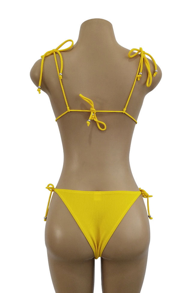 Ribbed Strappy Tie Side String Sliding Triangle Swimsuit in Yellow