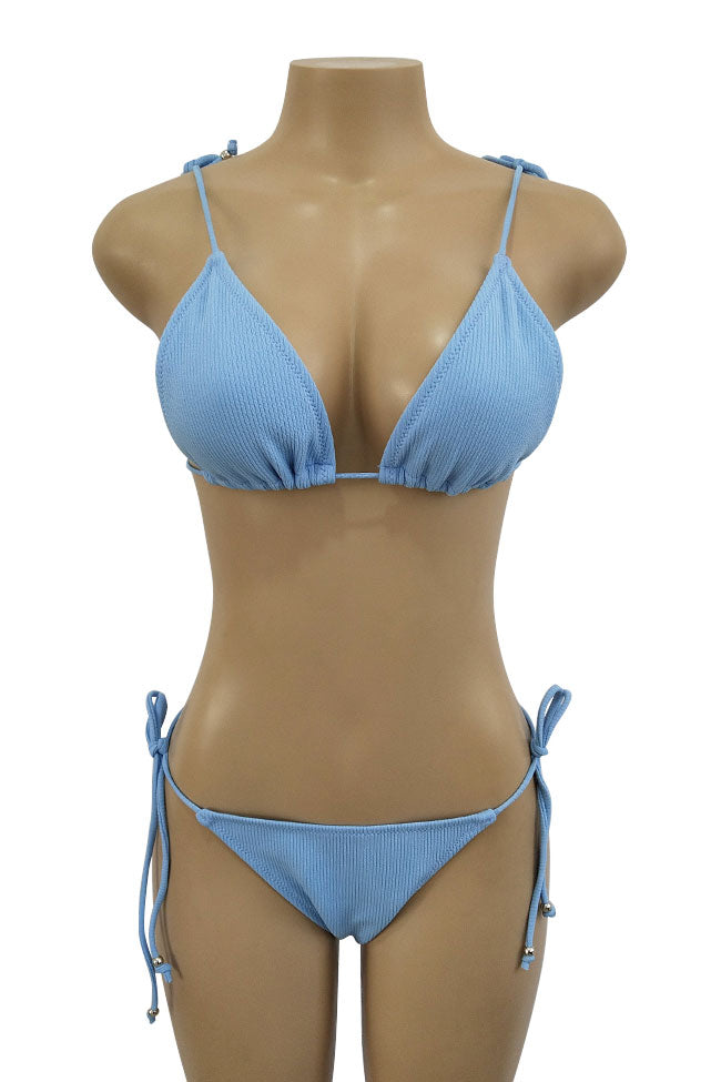 Ribbed Strappy Tie Side String Sliding Triangle Swimsuit in Blue