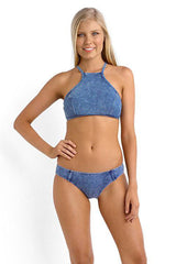 Nautical Tie Dye Denim Print High Neck Crop Bikini Swimsuit in Blue