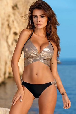 Metallic Halter Tie Wrap Bikini Swimsuit in Gold