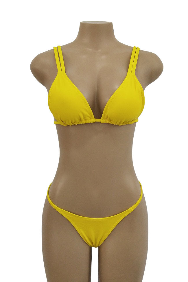 Strappy Sliding Triangle String Thong Bikini Swimsuit in Yellow