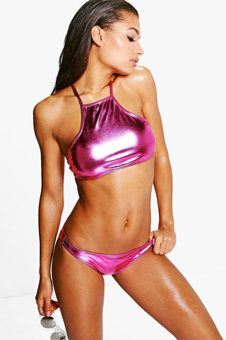 Metallic Strappy High Neck Bikini Swimsuit in Rose