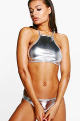 Metallic Strappy High Neck Bikini Swimsuit in Silver