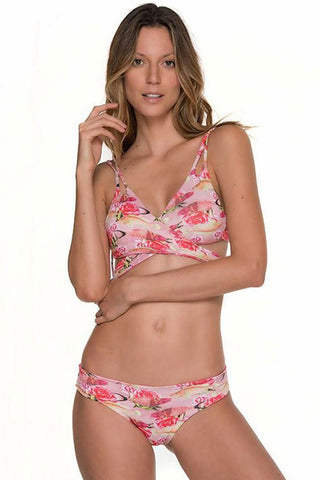 Floral Printed Double Strappy Wrap Bikini Swimsuit in Pink