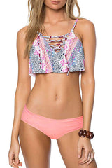 Bohemian Crisscross Lace Up Ruffle Bikini Swimsuit in Pink