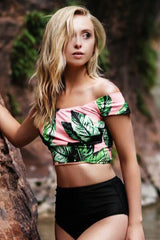 Palm Leaf High Waist Off Shoulder Crop Bikini Swimsuit in Pink