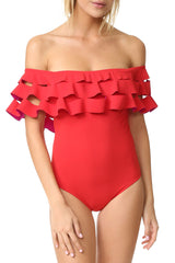 Layered Ruffle Off The Shoulder One Piece Swimsuit in Red