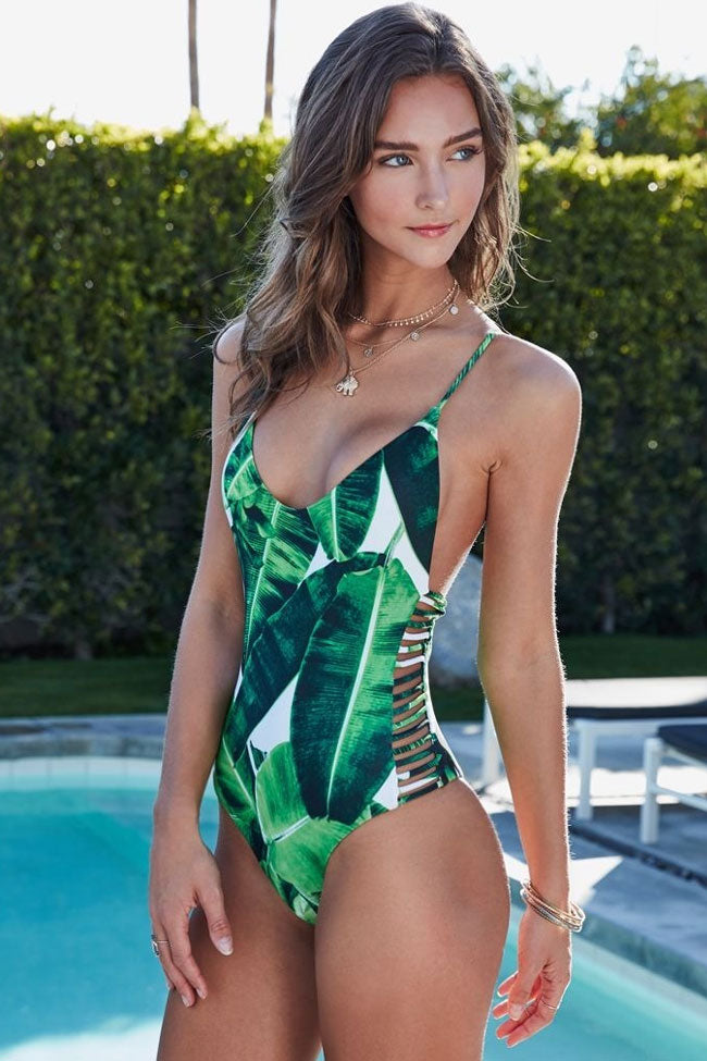 Palm Leaf Strappy Sides Low Back One Piece Swimsuit in Green
