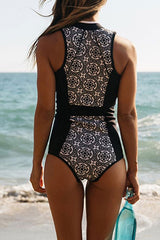 Vintage Floral Printed Zipperd Rash Guard One Piece Swimsuits in Black
