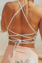 Vertical Striped Lace Up Back High Neck Crop Bikini Swimsuit in Pink