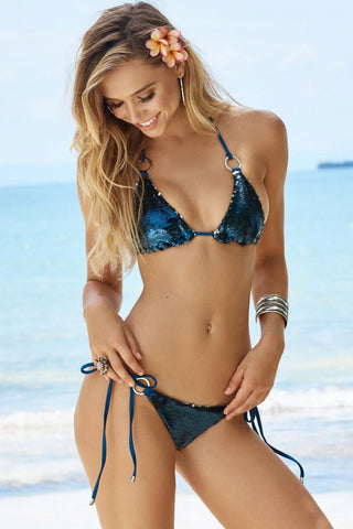Sequin Tie String Brazilian Scrunch Sliding Triangle Bikini Swimsuit in Royal Blue