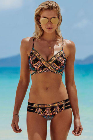 Strappy Ethnic Printed Cross Wrap Bikini Swimsuit in Multicolor