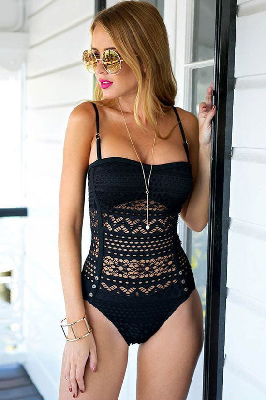 Hollow Out Lace Bandeau One Piece Swimsuit in Black