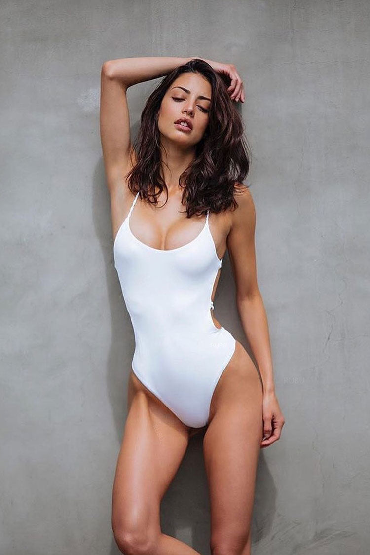 f5e5d6fabbf31 Crisscross Braided Strappy Low Back High Cut One Piece Swimsuit in White