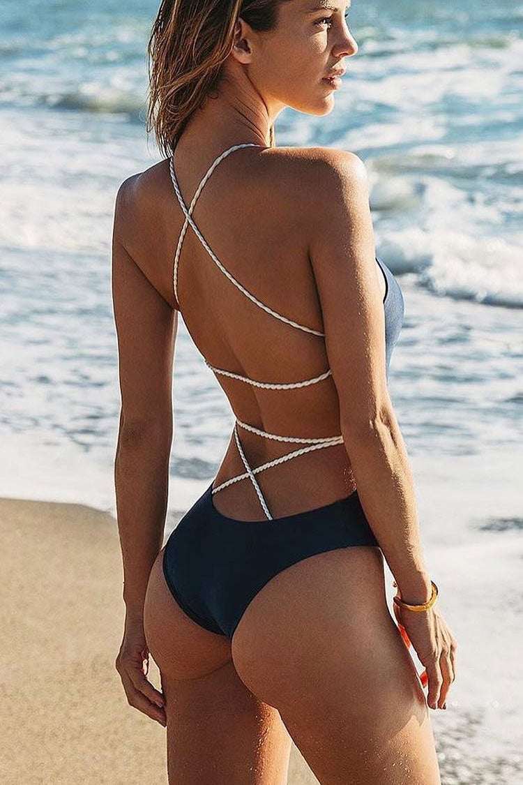 Crisscross Braided Strappy Low Back High Cut One Piece Swimsuit in Black