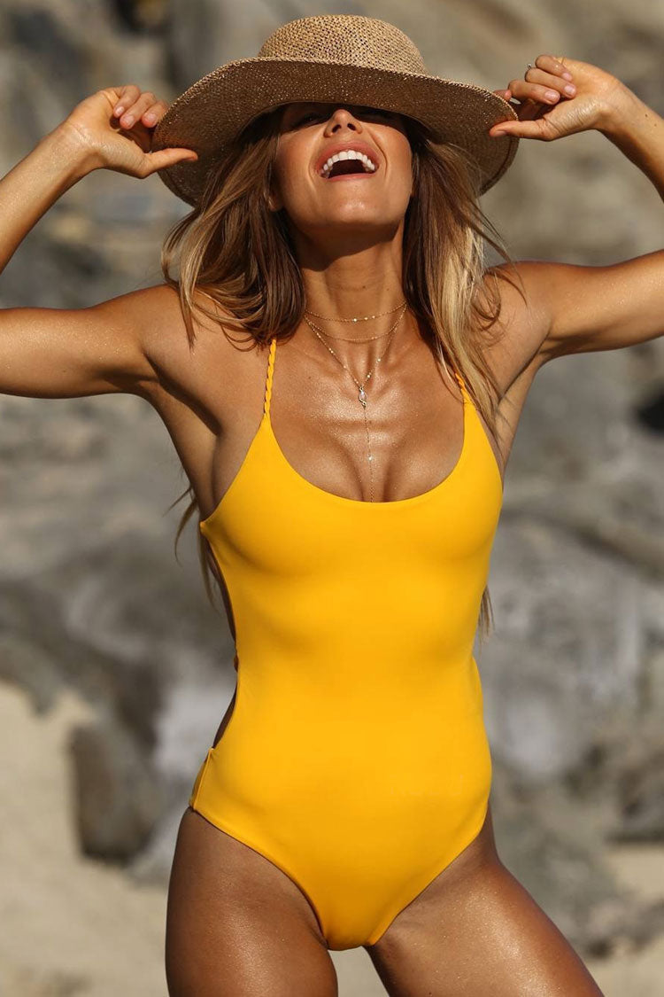 Crisscross Braided Strappy Low Back High Cut One Piece Swimsuit in Yellow