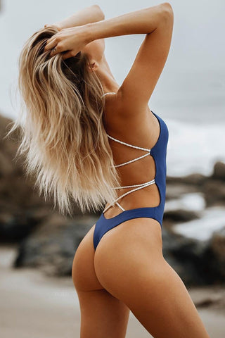 Crisscross Braided Strappy Low Back High Cut One Piece Swimsuit in Navy