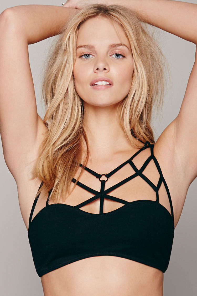 Solid Cage Strappy Crop Bikini Top in Black