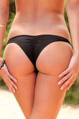 Solid Scrunch Brazilian Cheeky Bikini Bottom in Black