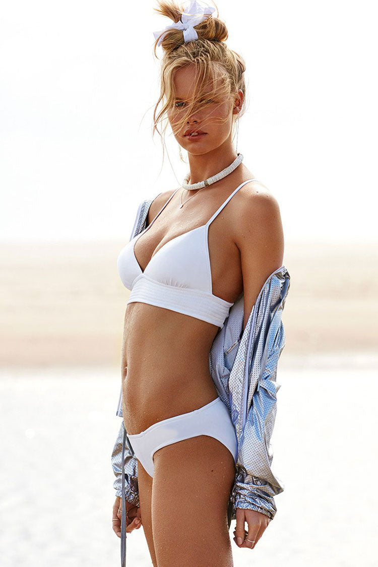 Solid Lace Up Back Triangle Bikini Swimsuit in White