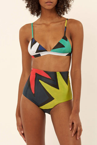 Color Block High Waist Triangle Bikini Swimsuit in Multicolor