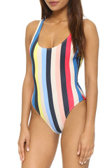 Rainbow Striped Low Back One Piece Swimsuit in Multicolor
