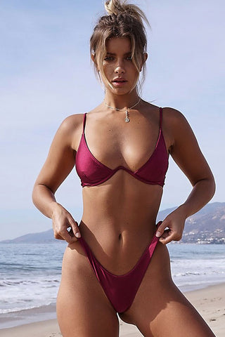 Sexy High Cut Underwire Thong Brazilian Bikini Swimsuit in Burgundy