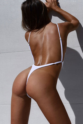 Sexy Low Back High Cut Thong One Piece Swimsuit in White