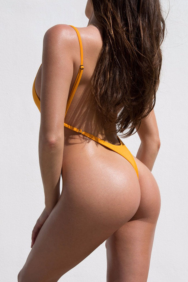 fc17488bf7 Sexy Low Back High Cut Thong One Piece Swimsuit in Yellow – Mode Cute