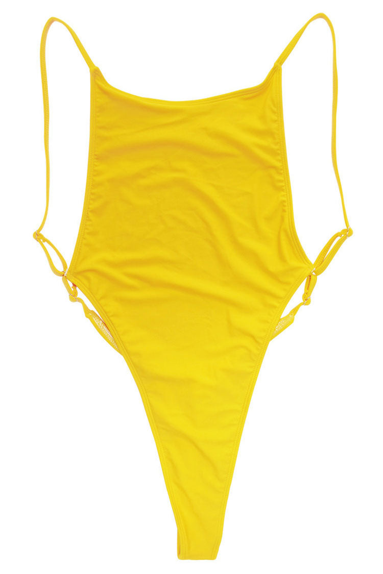 153224497bc Sexy Low Back High Cut Thong One Piece Swimsuit in Yellow – Mode Cute