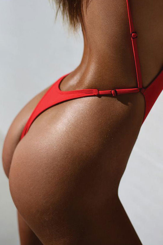 fa7b14d6f10 Sexy Low Back High Cut Thong One Piece Swimsuit in Red – Mode Cute