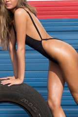 Sexy Low Back High Cut Thong One Piece Swimsuit in Black