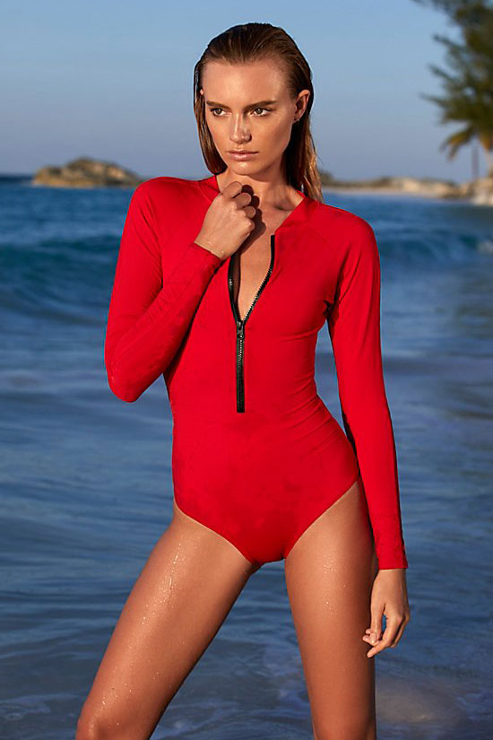 Zip Front Long Sleeve Open Back One Piece Swimsuit in Red