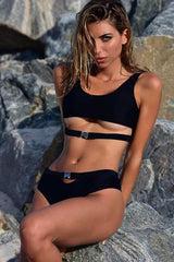 Buckle Front High Cut High Waist Crop Bikini Swimsuit in Black