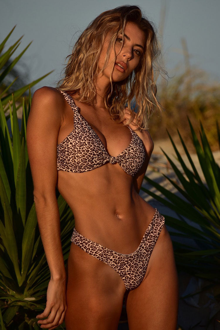 Leopard Knotted Front Triangle Bikini Swimsuit in Coffee