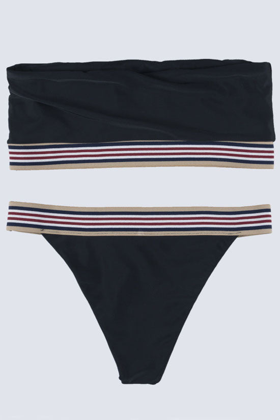 Sport Stripe High Cut Bandeau Bikini Swimsuit in  Black