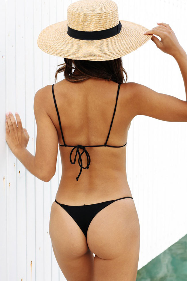 Solid Sliding Triangle String Thong Bikini Swimsuit in Black