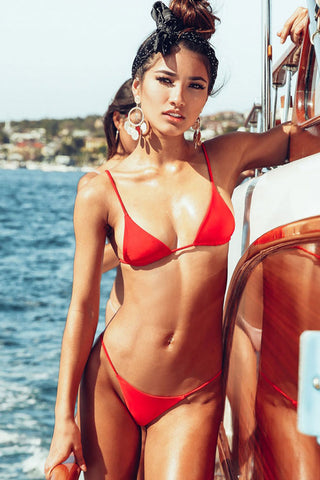 Solid Sliding Triangle String Thong Bikini Swimsuit in Red