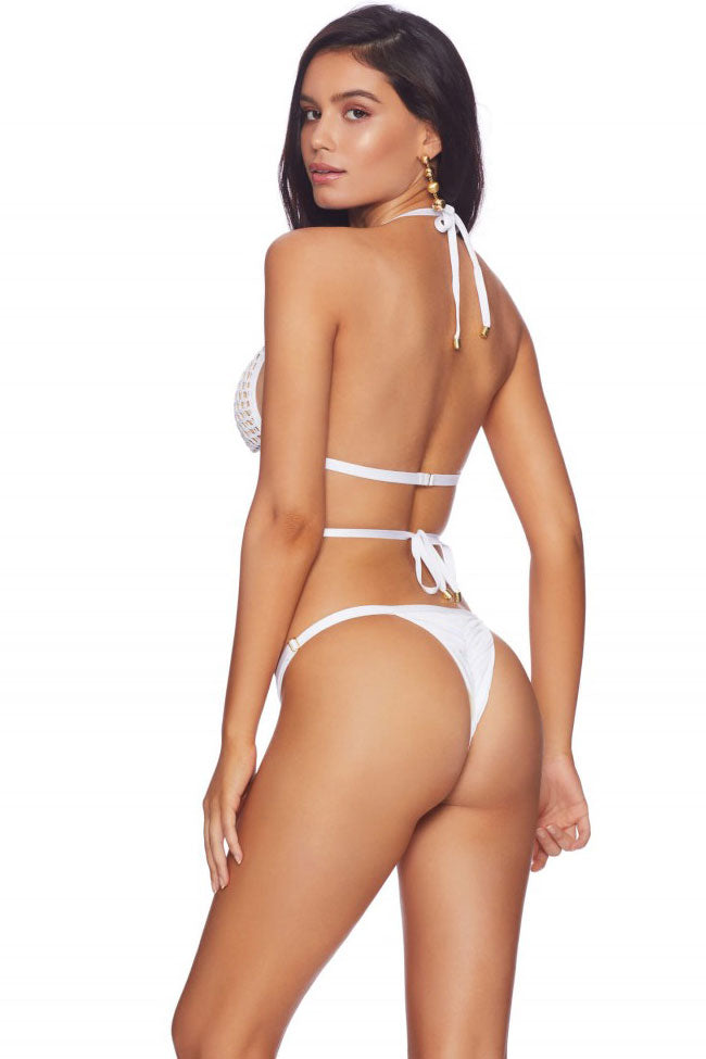 Solid Crochet String Thong Triangle Halter Bikini Swimsuit in White