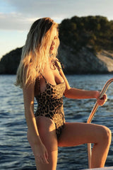 High Cut Tie Shoulder Straps One Piece Swimsuit in Leopard