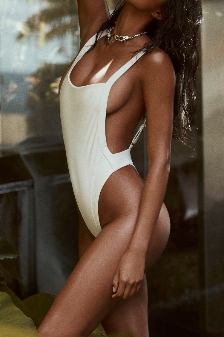 Low Back High Cut Thong One Piece Swimsuit in White