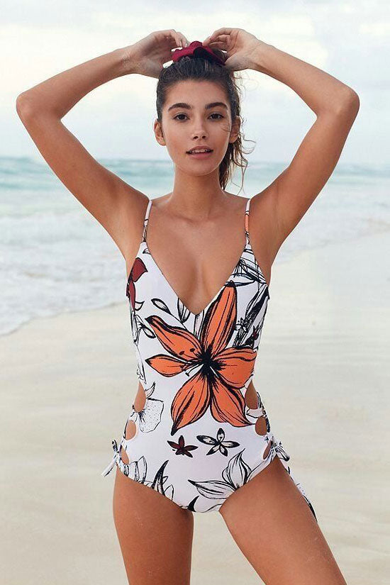 Low Back Lace Up Strappy Side Floral One Piece Swimsuit in White