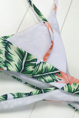 Tropical Palm Leaf Print Cross Wrap Bikini Swimsuit in Green