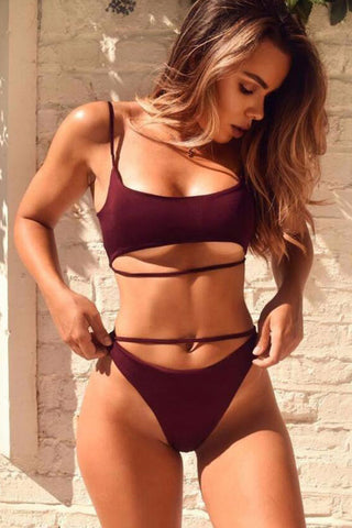 Solid High Cut High Waist Bralette Bikini Swimsuit in Burgundy