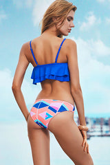 Colorful Geometric Layered Ruffle Bandeau Bikini Swimsuit in Blue