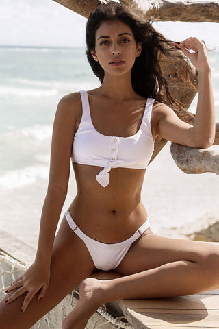 Ribbed High Cut Knotted Crop Bikini Swimsuit in White